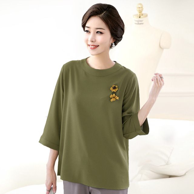 5Xl 6Xl Plus Size Women Blouses Tops Summer Ladies 2018 Fashion Mother  Solid O-neck Chiffon Shirt Large Size Loose Clothes f8fdc7abea60