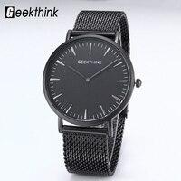 GEEKTHINK Top Brand Luxury Quartz Watch Men Black Japan Quartz Watch Business Stainless Steel Mesh Strap