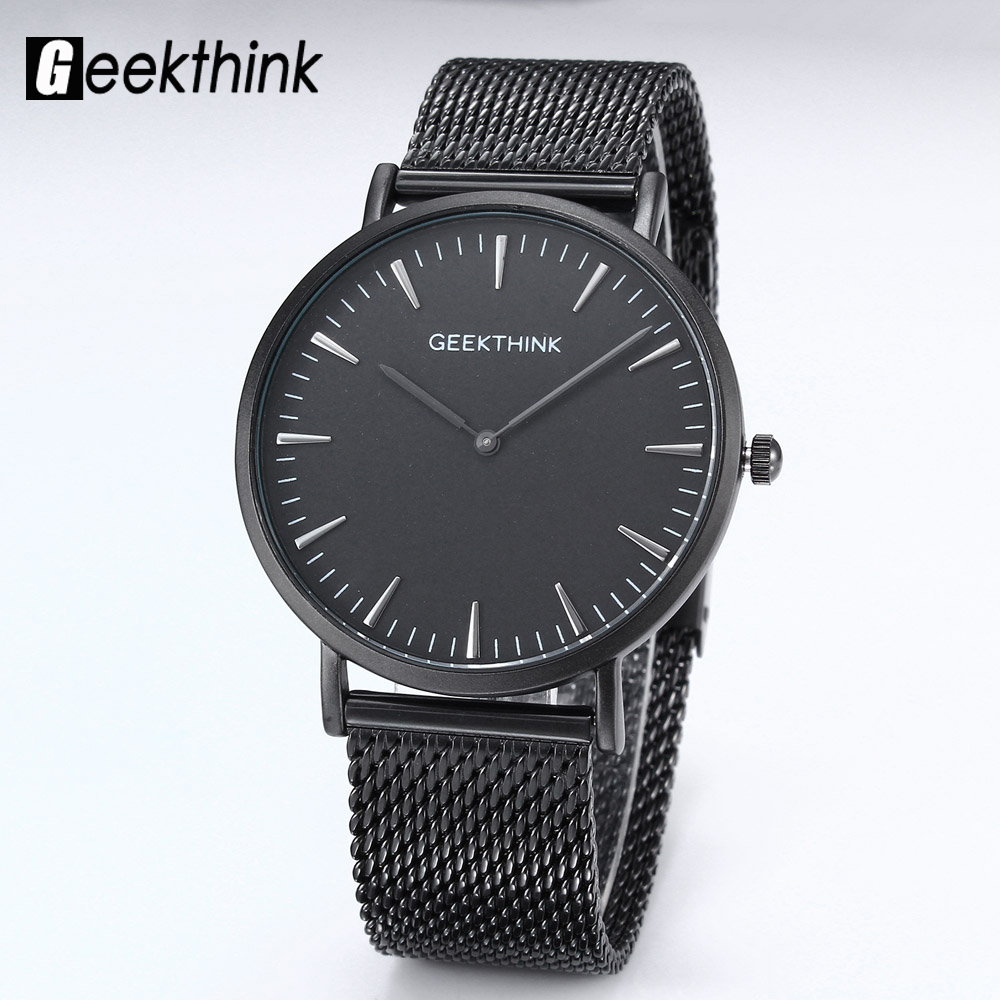 GEEKTHINK Top Brand Luxury Quartz watch men Black Japan quartz-watch Business stainless steel Mesh strap ultra thin clock male ultra luxury 2 3 5 modes german motor watch winder white color wooden black pu leater inside automatic watch winder