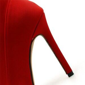 Image 5 - 2020 النساء 11.5 سنتيمتر عالية الكعب صنم الحرير جورب الأحذية تمتد Stiletto الكعوب الأحمر النيون حذاء من الجلد Scarpins حجم كبير 42 الأحذية