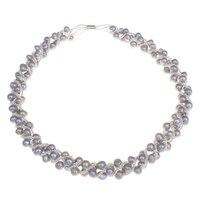 Nuevos Diseños de Joyería de La Boda Real de Agua Dulce Naturales Collar de Perlas Blanco Gris Rosa Púrpura de La Patata Del Collar para Los Regalos de la Mujer
