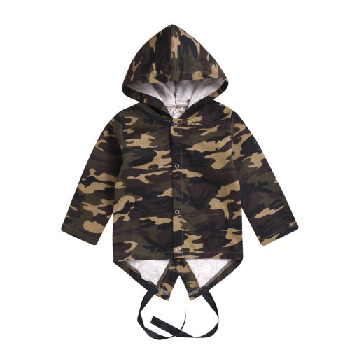 Kids Child Baby Boy Girl Clothing trench Long Sleeve Camo Tops Outerwear