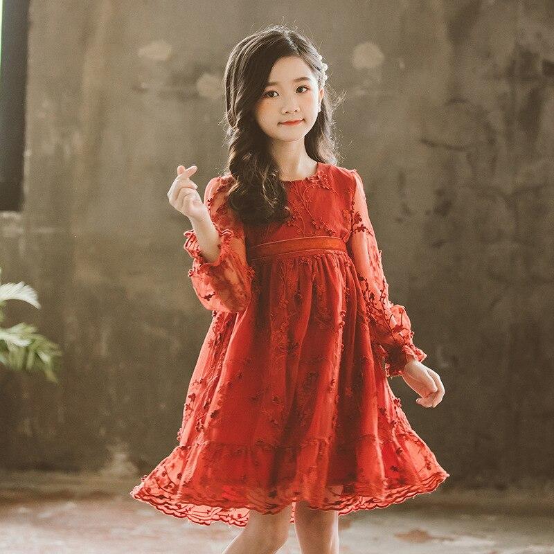 2019 nouveau printemps marque filles robe enfants dentelle robe bébé princesse robe mère et fille belle robe broderie, #3793