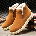 Winter men boots warm PU leather boots with fur waterproof motorcycle boots adult plus size snow boots Black blue brown