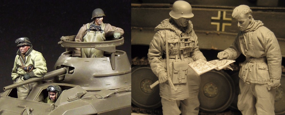 Assembly Unpainted Scale 1/35 -German and Greyhound crew figure Historical WWII Resin Model Miniature Kit