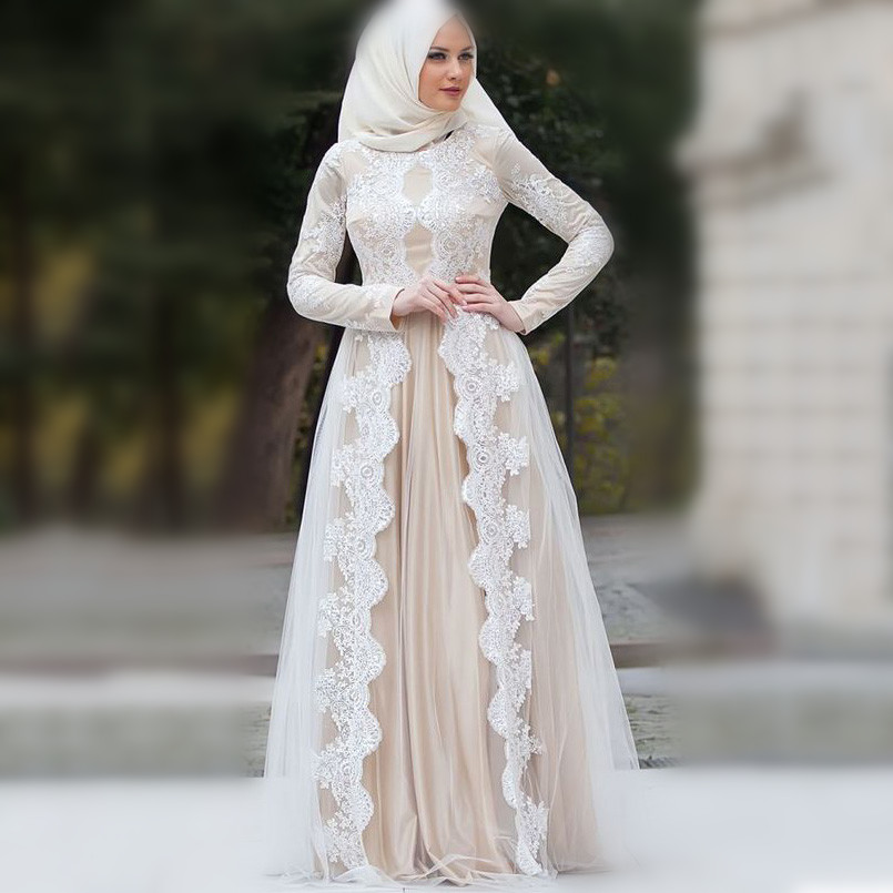 2019 Champagne Muslim Wedding Dress Long Sleeves Applique Bridal Dress vestidos de noiva Casamento Wedding Gown