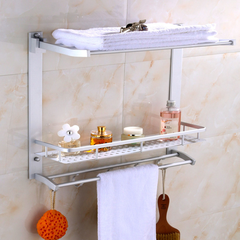 Space Aluminum Bathroom 2 Shelfve Shower  Shampoo Soap Cosmetic Shelves Bathroom Accessories Storage Organizer Rack Holder Zc123 multi function kitchen shelves space aluminum shelf storage organizer kitchen accessories kitchen knife holder