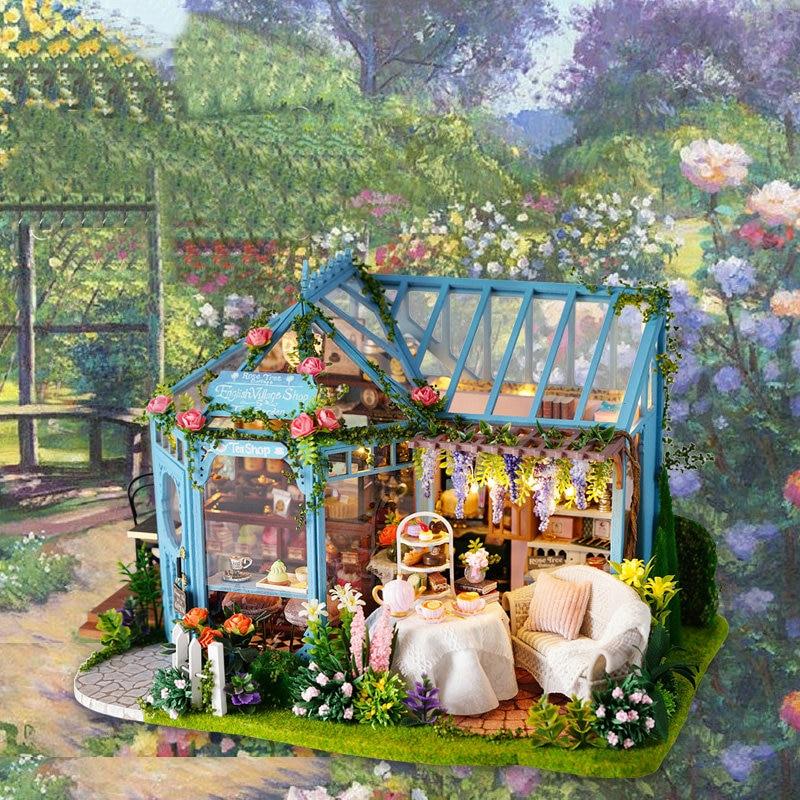 Diy Wooden Doll House Miniature Dollhouse Kit ROSE TEA HOUSE Mini Toy House Model Toys for Children Girl Birthday GiftDiy Wooden Doll House Miniature Dollhouse Kit ROSE TEA HOUSE Mini Toy House Model Toys for Children Girl Birthday Gift