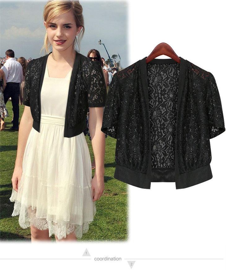 Women top 2018 Fashion Lace office beach top shrug plus size M~5XL Wrap Coat  Hollow Out Short sleeve Short Small Shawl Cardigan-in Shrugs from Women s  ... 64b931d239c1