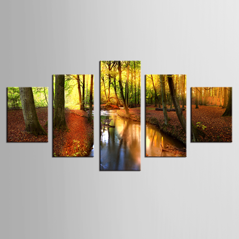 5 panel river in the forest canvas wall painting art painting home decoration living room canvas printing modern painting framed in Painting Calligraphy from Home Garden