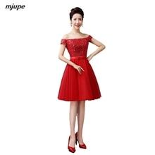 elegant knee length prom dresses short one word shoulder sequined ball gowns bandage back red burgundy dress for women