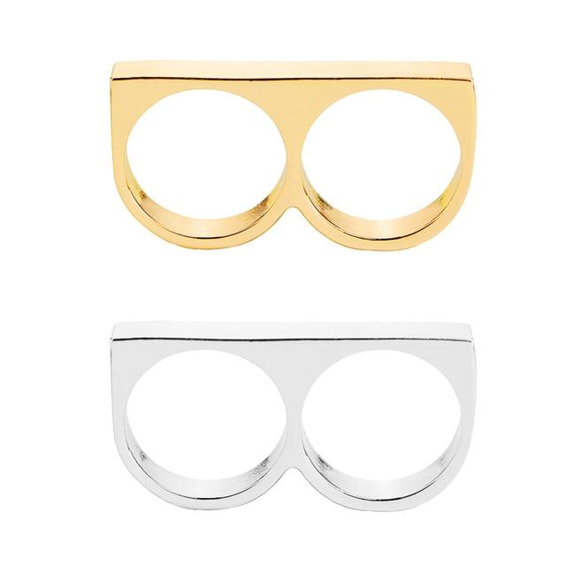 Dois dedos Anel de Dedo 2 Anéis dos homens do punk Anel duro Presente para namorado jóias anéis colar de proteção