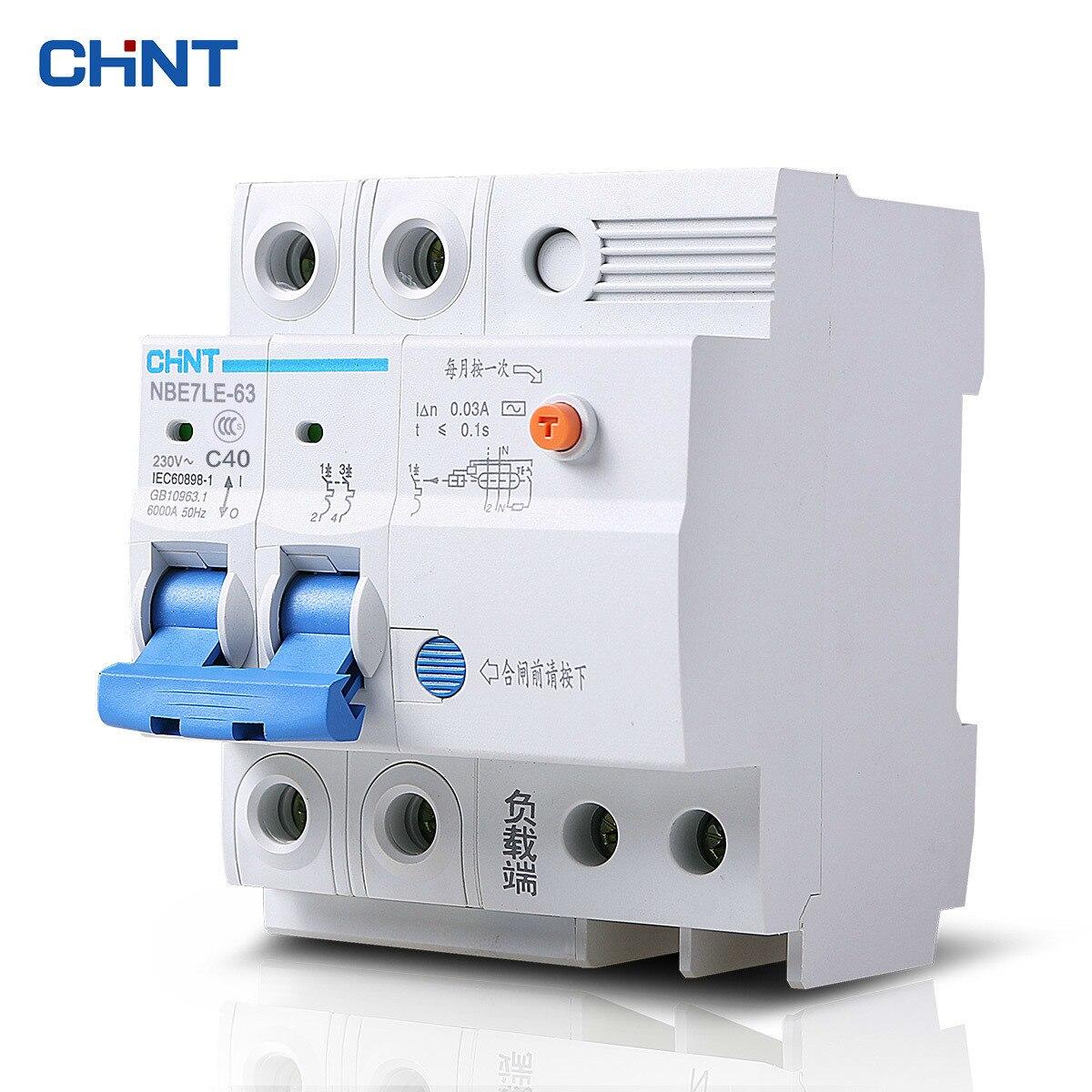 CHINT Fuite Protecteur Commutateur NBE7LE 2 P 40A Accueil Électrique Choc Protection Bipolaire C40