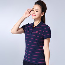 L-4XL New Women Cotton Polo Shirt Summer 2017 Elegant All-match Stripe Short-sleeve Turn-down Collar Tops Tees Female Plus size