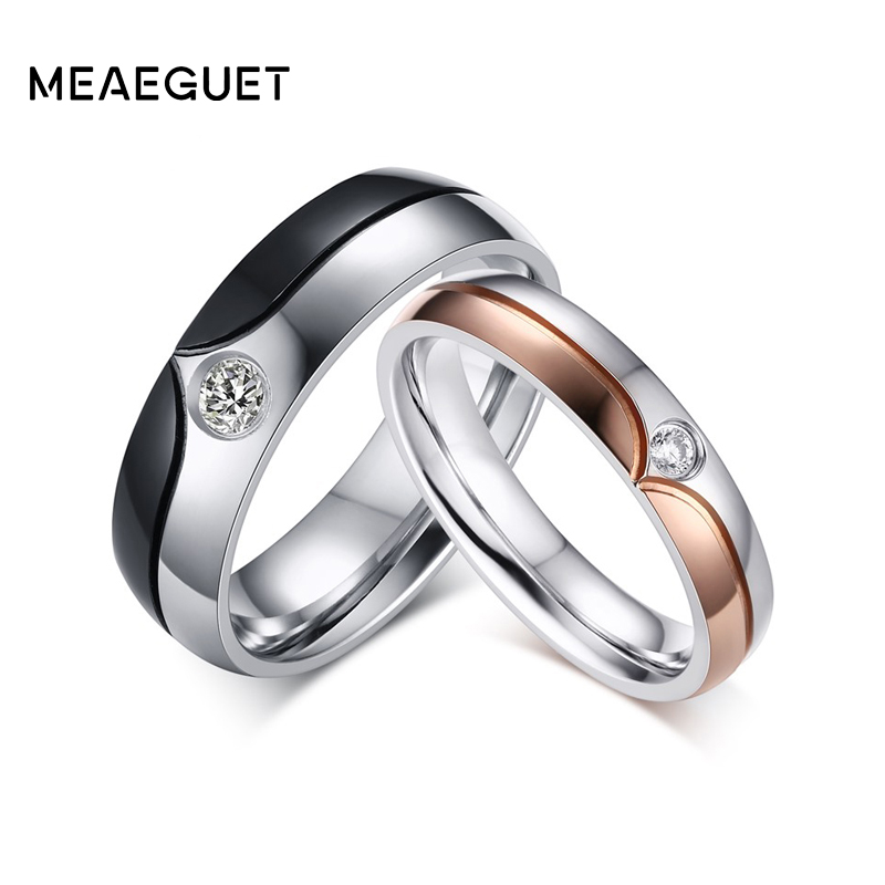 Romantic wedding couple rings for men women stainless steel CZ diamond engagement