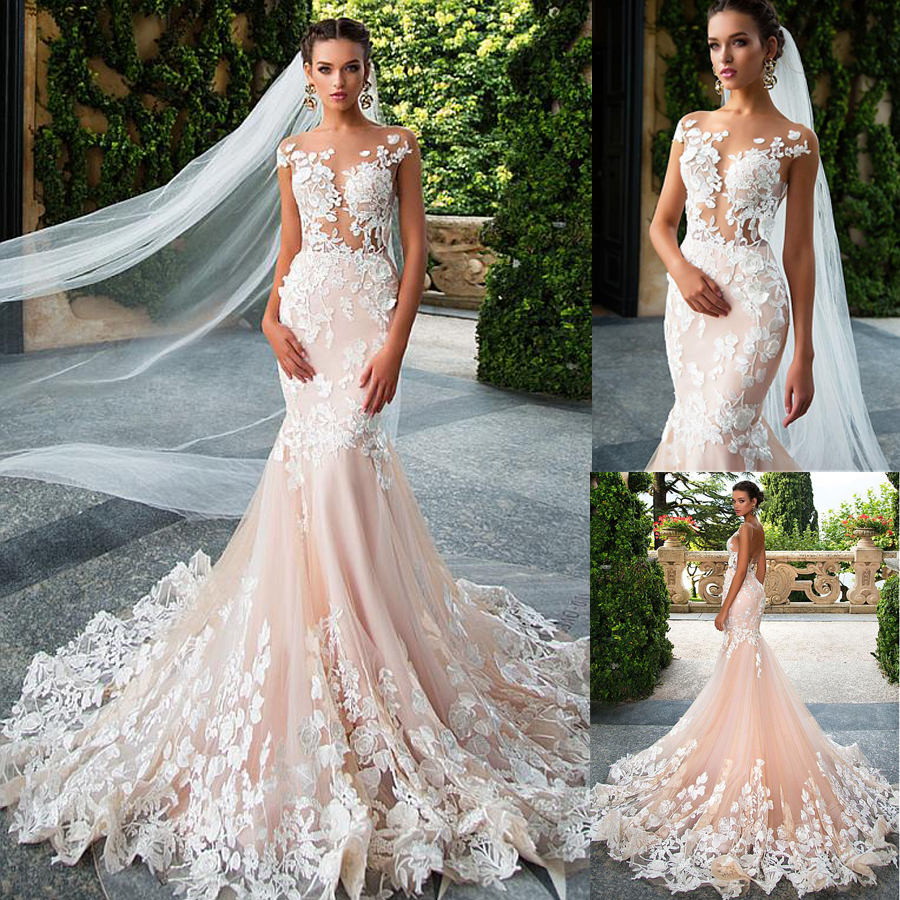 Glamorous Tulle Jewel Neckline See through Bodice Mermaid Wedding Dresses With 3D Lace Appliques Pink Bridal