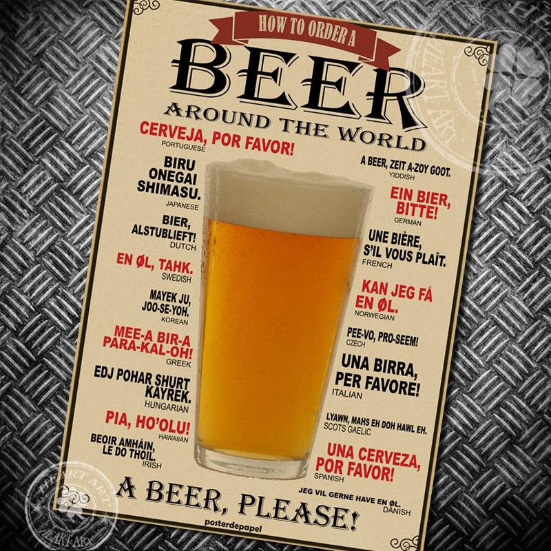 Vintage Poster Beer Drink Wine Chart Kraft Paper Poster Retro Painting Vintage Bar Pub Cafe Wall