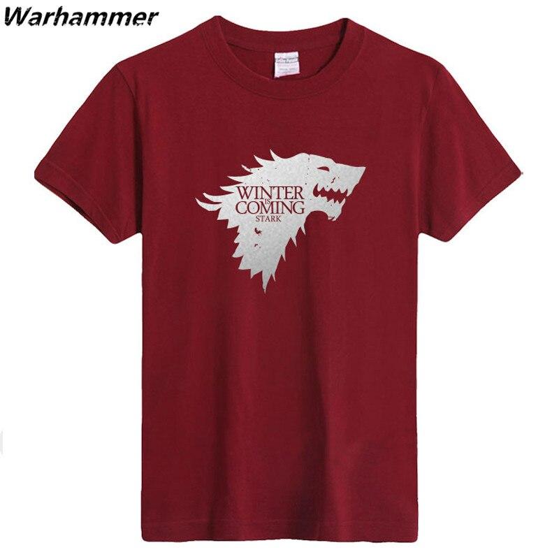 Hiver est à venir Direwolf T shirt maison Stark 100% coton 220gms t-shirt Homme décontracté manches courtes Game of Thrones top T-shirts