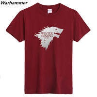 Winter Is Coming Direwolf T shirt House Stark 100%Cotton 220gms Tee Shirt Homme Men Casual Short Sleeve Game of Thrones Top Tees