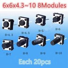 160 adet çeşitli mikro dokunmatik Push düğmesi dokunmatik Tact anahtarı kiti 6x6x4.3 ~ 10 2 Pin indüksiyon ocak LCD monitör onarım anahtarı 6*6