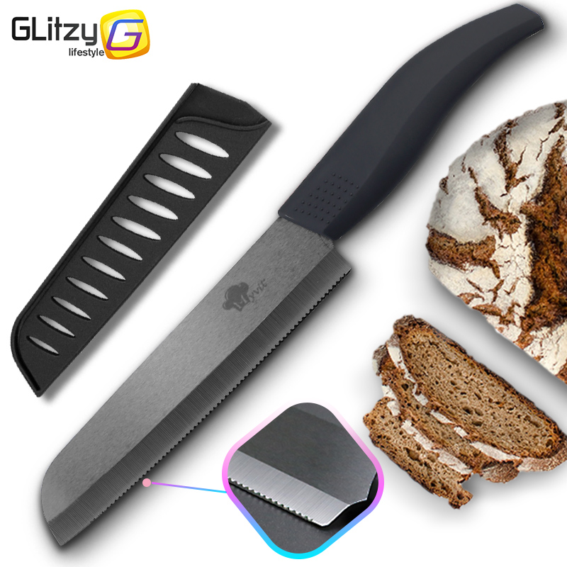 Ceramic Knife Serrated Bread Kitchen Zirconia Black Blade Knife Cooking 6 inch 4 Colorful Handle Fruit