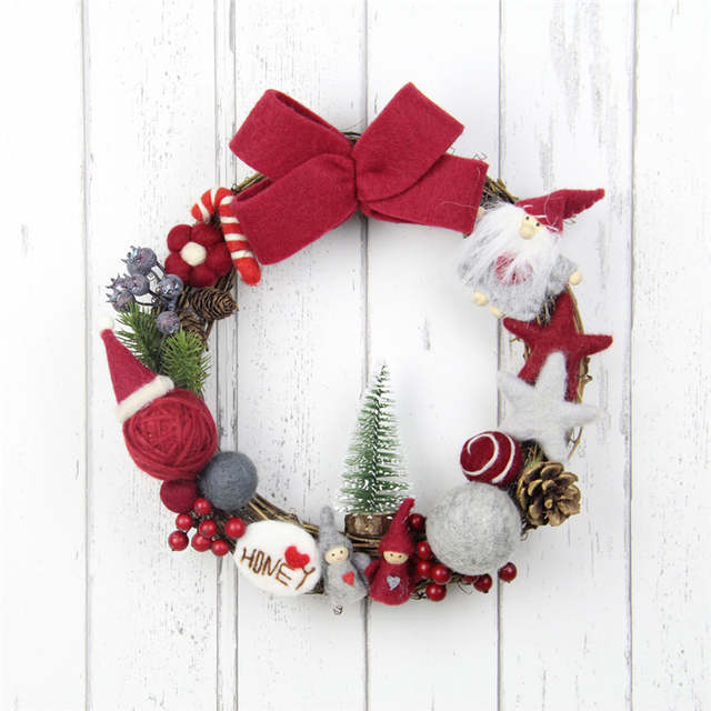 25cm Christmas Wreath Wool Felt Garland Diy Kit For Home Party Decoration Handmade Mini Pine Tree Front Door Wreath