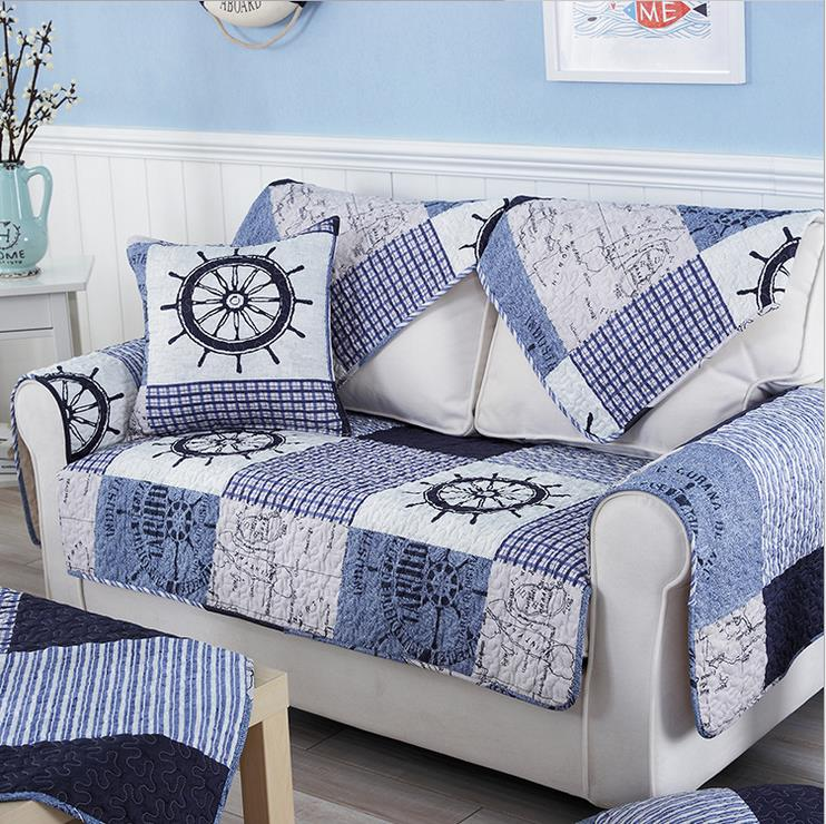 1 Piece Cotton Fabric Sofa Cover Patchwork Printing Soft Modern Slip  Resistant Sofa Slipcover Seat Couch