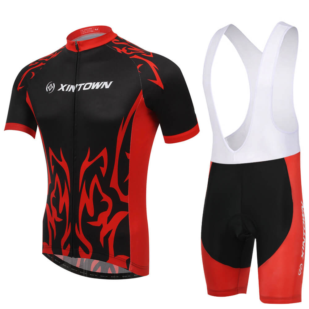 XINTOWN Short Sleeve Cycling Jersey Bib Shorts Sets Summer Absorb Sweat Cycling Clothes Sponge Pad Breathable Jersey Sets