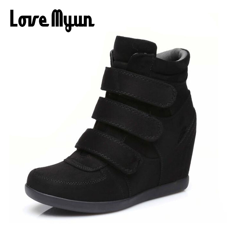 ALL black Woman Sneakers Casual Wedge flat Platform Shoes Breathable Ankle Boot Women hi ...