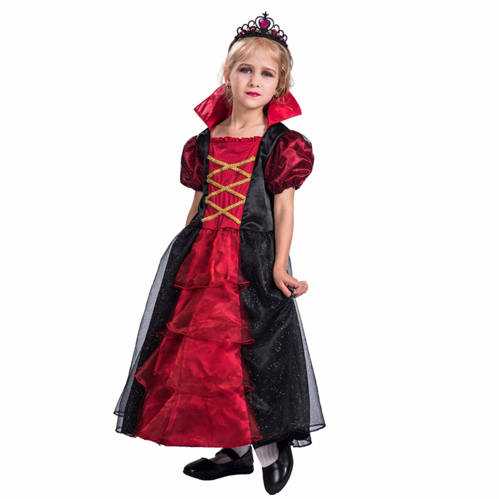 vampiress contessa halloween costume for kids girls anime cosplay fancy dress costumes scary vampire halloween costumes - Cheap Creepy Halloween Costumes