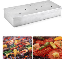 Stainless Steel BBQ Gas Grill Smoker Box With Lip Durable Home Garden Outdoor Flavor Wood Chips