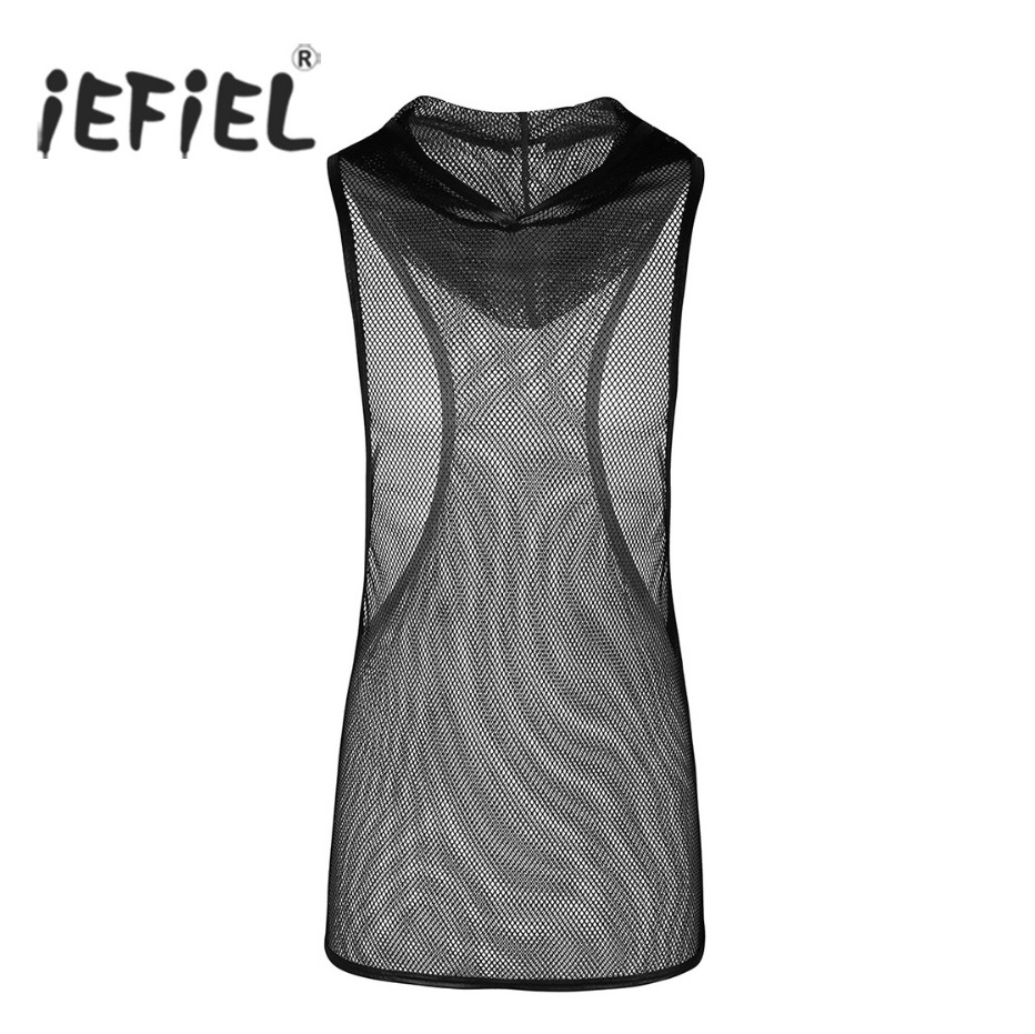 iEFiEL Mens Fishnet See-through Super Light Hooded Vest Waistcoat   Tank     Top   Clubwear Undershirt Wetlook   Tops   Men Singlet Clothing