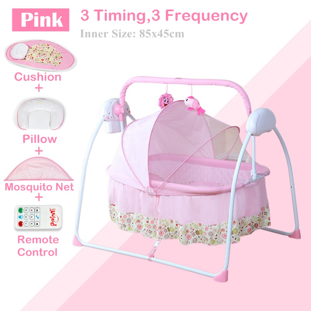 Big Space Electric Baby Cradle Baby Crib/ Infant Rocker, 3 Timing,3 Frequency, Plus Mosquito Net, Baby Swing Bed