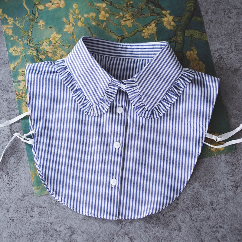 OnnPnnQ Fashion Custom Designer Detachable Collar Blue White Stripe Style Pleated Women Fake Collar Shirt