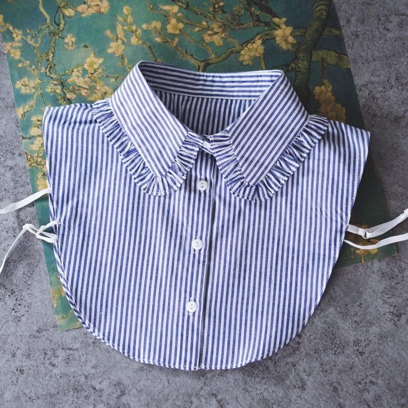 OnnPnnQ Fashion Custom Designer Detachable Collar Blue White Stripe Style Pleated Women Fake Collar Shirt
