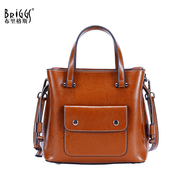 BRIGGS Brand Vintage Casual Tote Women Shoulder Crossbody Bag Female Messenger Bags High Quality Genuine Leather Ladies Handbag 2017 new elegant handbag for women high quality split leather female tote bags stylish red black gray ladies messenger bag