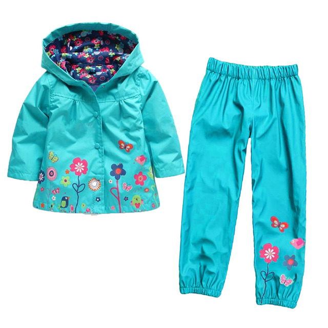 Fashion cotton nylon blend raincoat jacket and kids waterproof pants toddler children girl clothing sets