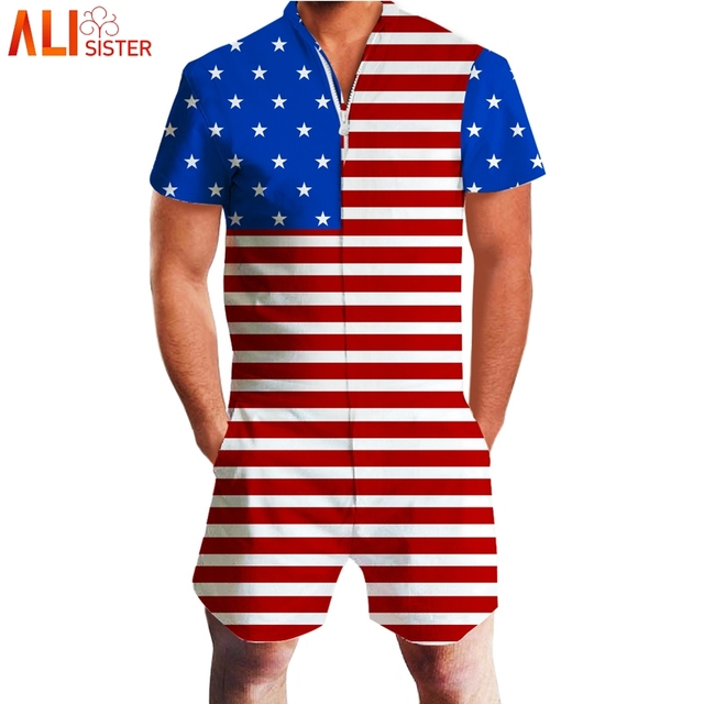 9dc9200237b Alisister US Flag 3d Rompers Floral Print Men s Short Sleeve Funny Jumpsuit  Playsuit Male Harem Cargo Overalls Summer One Piece
