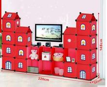 Simple modular living room TV receiver cabinet. Sorting cabinets. Plastic assembly cabinet