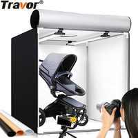 Travor luz caixa 60*60 cm portátil softbox studio foto led lightbox com 3 cores de fundo para a fotografia de mesa luzes led