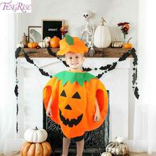 FENGRISE 5-10 Years Old Kids Pumpkin Clothes Halloween Decoration Cosplay Party Decor Costume For