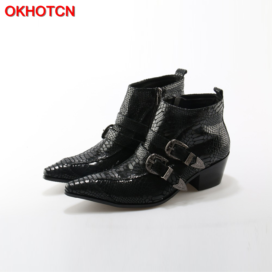 OKHOTCN British Style Autumn Winter Men Boots Fashion Pointy Buckle Ankle Boots Casual Genuine Leather Shoes Double Buckles Bota 2017 new autumn winter british retro men shoes leather breathable sneaker fashion boots men casual shoes handmade fashion
