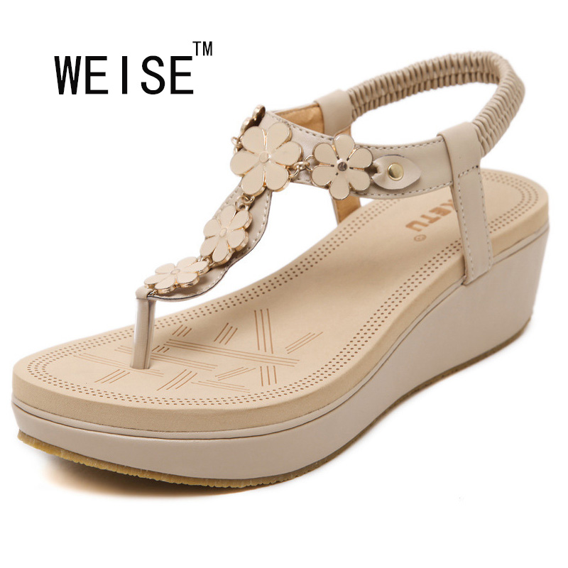 WEISE Free Shipping 2017 new Korean elastic belt buckle slope with sandals shoes thong sandals women