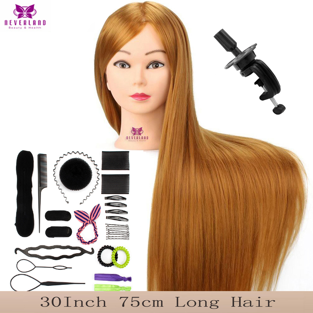 "30"" 75CM Long Blonde Hair Training Head Mannequin For Braids Salon Professional Hairdressing Doll Heads Hair Styling Practice"
