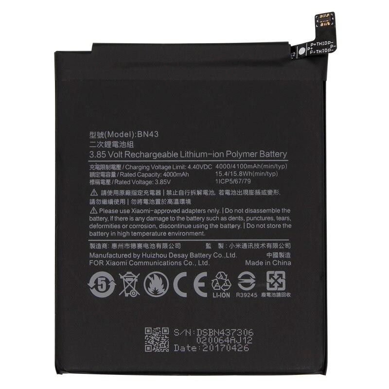 4X antirr Original Substituição Bateria Do Telefone Para Xiaomi Redmi Nota/Note 4 Telefone Snapdragon 625 4000 mAh BN43 global bateria