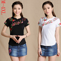 Traditional Chinese clothing ethnic shirt 2017 women vintage green red blue black white stand collar embroidery blouse shirt