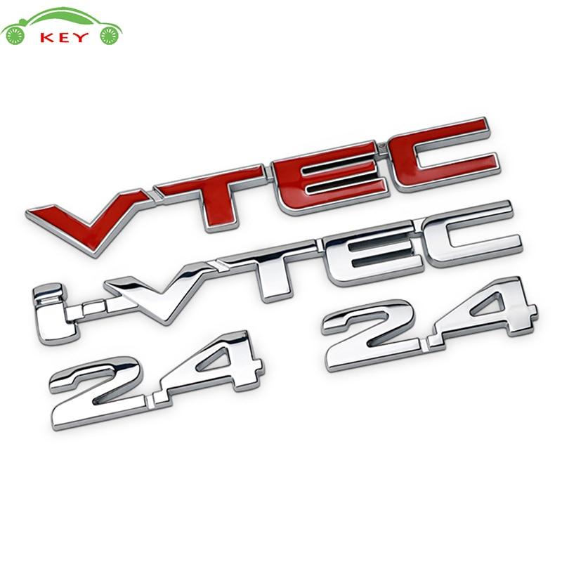 Metal Car Sticker for 2.4 i-vtec vtec for Honda Civic Accord Odyssey CRV Spirior Auto Modified Letter Rear Badge Trunk Emblem 3d vtec full metal zinc alloy car styling refit emblem fender tail body badge sticker for honda civic accord odyssey spirior crv