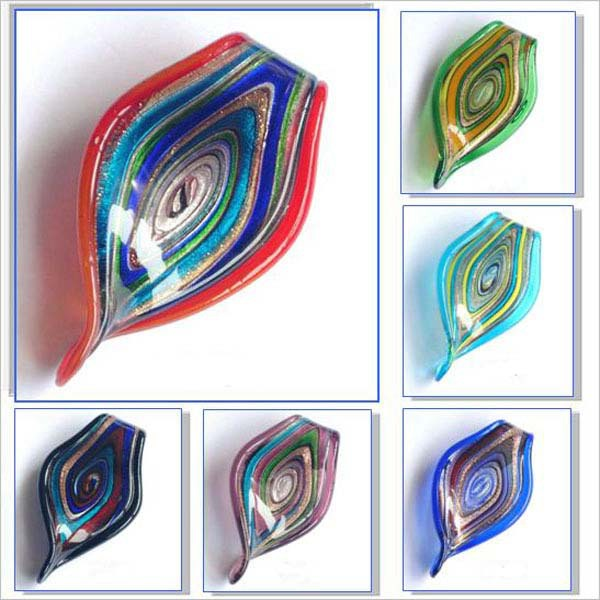 Takı ve Aksesuarları'ten Gerdanlıklar'de Toptan Murano Cam Kolye takı Arlecchino bükülmüş benzersiz lampwork Murano sanat cam boncuklu kolye MIX 120 adet/grup'da  Grup 1