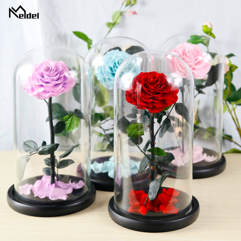 Artificial Preserved Flower Gift Box White Eternal Red Rose in a flask Birthday Gift Wedding Home Party Decor 17*32cm Glass Dome