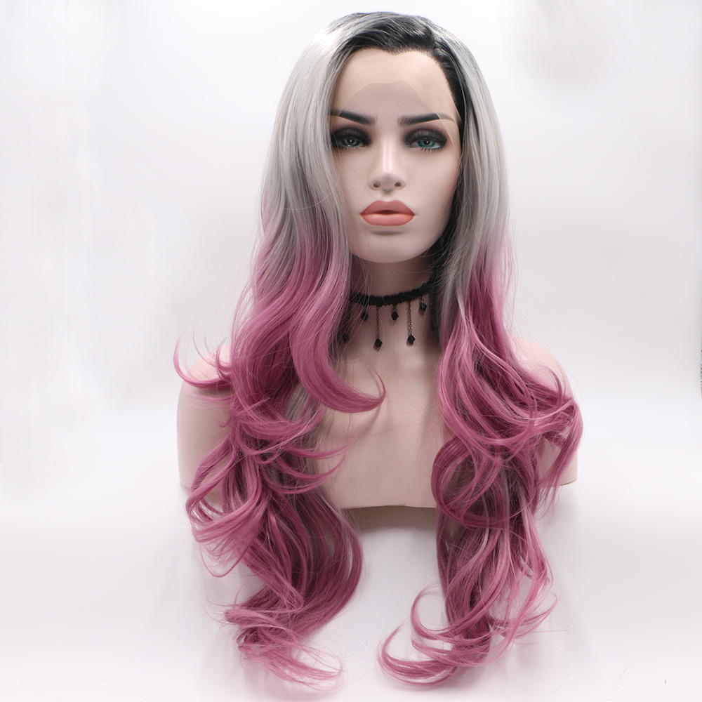 Fantasy Beauty Black Friday Ombre Synthetic Lace Front Wigs Dark Roots Blonde to Pink Half Hand